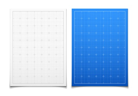 technical: White and blue isolated square grid set with shadow