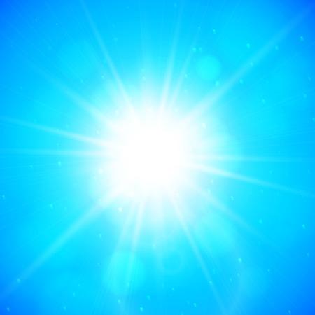 rayos de sol: Fondo de verano, sol de verano con reflejo en la lente Vectores