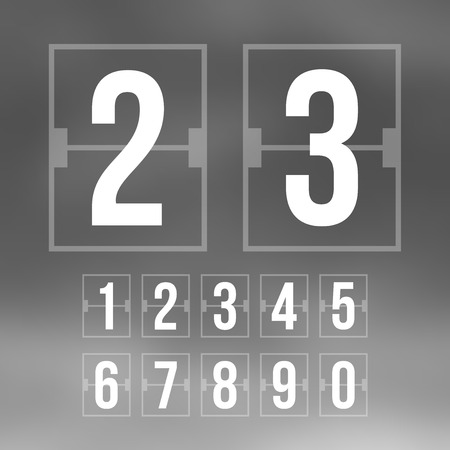 sec: Outline countdown timer, white color flat mechanical scoreboard Illustration