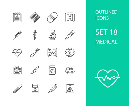 microscope: Outline icons thin flat design, modern line stroke style