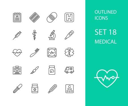 hospital symbol: Outline icons thin flat design, modern line stroke style