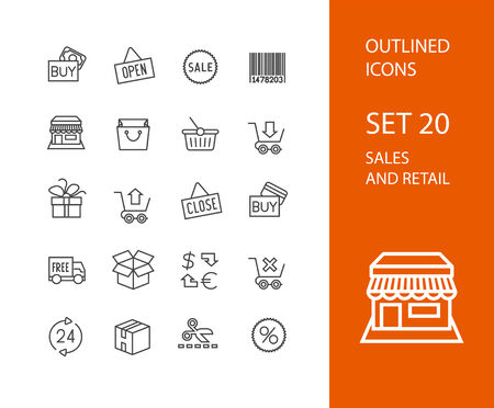 shopping bag icon: Outline icons thin flat design, modern line stroke style