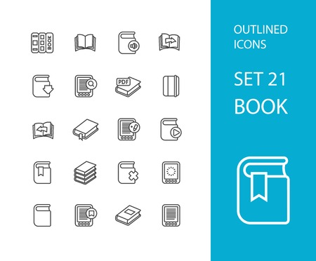 e book: Outline icons thin flat design, modern line stroke style