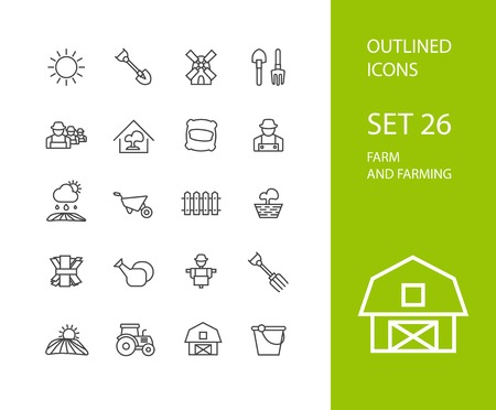 farming: Outline icons thin flat design, modern line stroke style