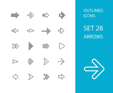 direction arrows: Outline icons thin flat design, modern line stroke style