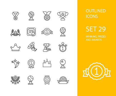 star award: Outline icons thin flat design, modern line stroke style