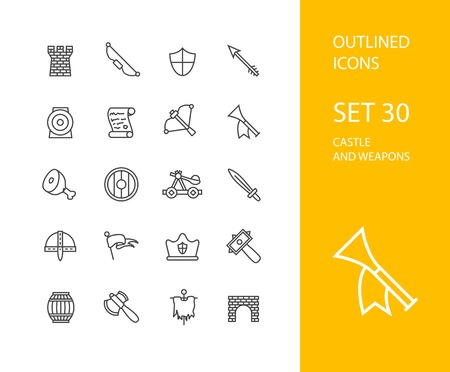 shield and sword: Outline icons thin flat design, modern line stroke style