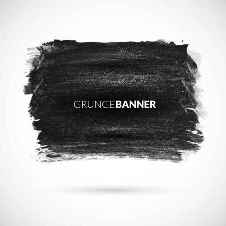 business backgound: Black watercolor ink banner with grunge texture retro effect