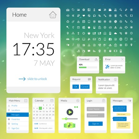 notify: Mobile flat interface elements with colorful wallpaper and icon set, design for applications