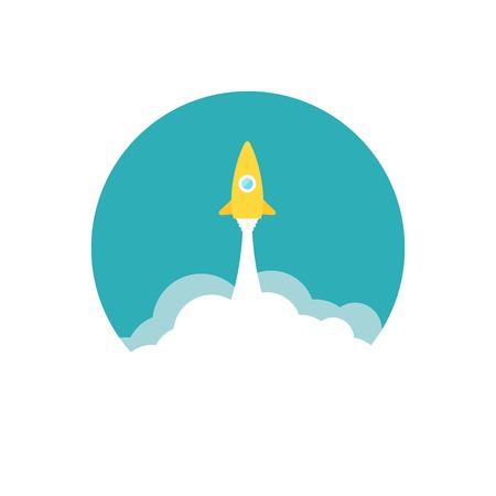 Yellow rocket and white cloud, circle icon in flat style, vector illustration Vector