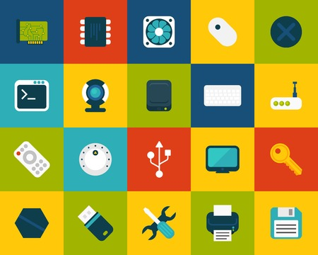 Flat icons set 13 Vector