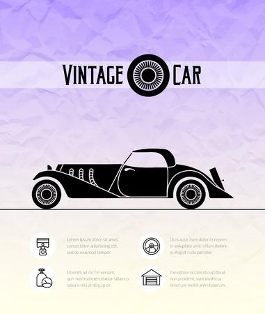 cabriolet: Retro cabriolet sport car, vintage outline style Illustration