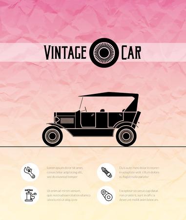 cabriolet: Retro cabriolet car, vintage outline style Illustration