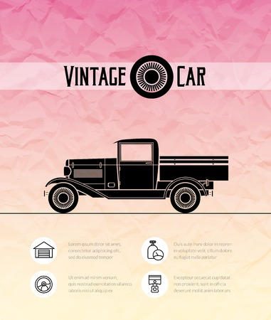 Retro pickup, truck car, vintage outline style Vector