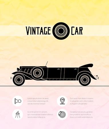 cabriolet: Retro limousine cabriolet car, vintage outline style Illustration