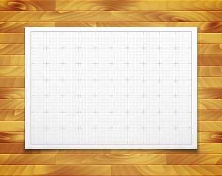 inches: White isolated square grid with shadow isolated on wood texture