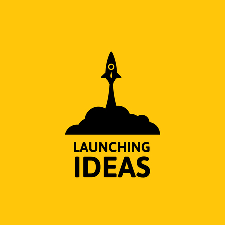 satellite launch: Black rocket and cloud, icon in flat style isolated on yellow background, vector illustration
