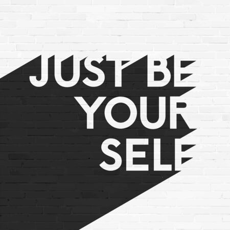 work popular: Just be your self, lettering illustration, grunge brick wall background, typographic retro design Illustration