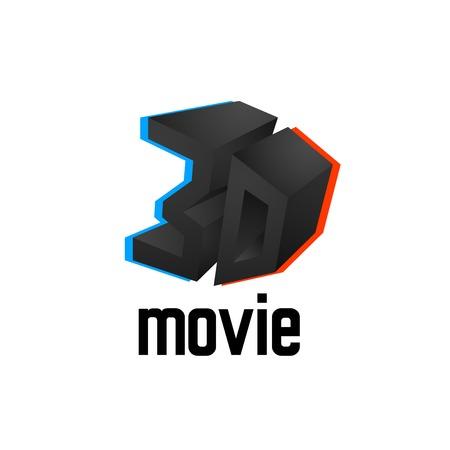 chromatic: 3D movie icon, cinema design template with symbol chromatic aberration