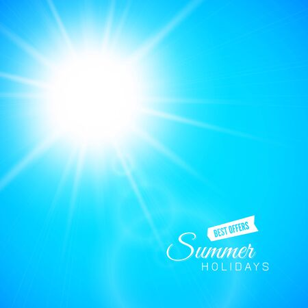 sun flares: Summer background, summer sun with lens flare