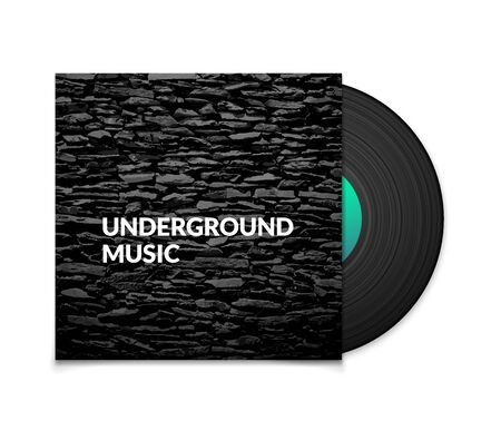 record cover: Black vintage vinyl record and black underground music cover case with grunge stone texture isolated on white background