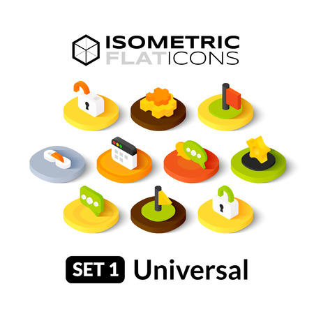 Isometric flat icons, 3D pictograms vector set 1 - universal symbol collection Çizim