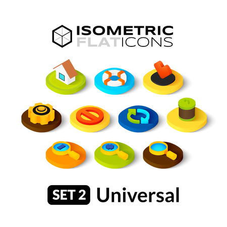 Isometric flat icons, 3D pictograms vector set 2 - universal symbol collection