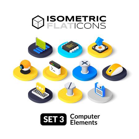 circuito integrado: Iconos planos isométricos, pictogramas 3D conjunto de vectores 3 - colección de símbolos ordenador Vectores