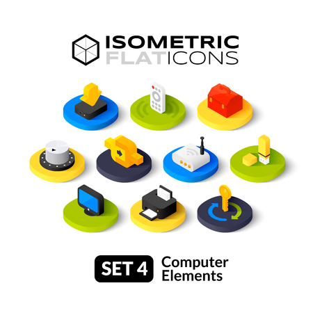Isometric flat icons, 3D pictograms vector set 4 - computer symbol collection Banco de Imagens - 46153046