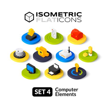 Isometrisch vlakke pictogrammen, 3D-pictogrammen vector set 4 - computer symbool collectie