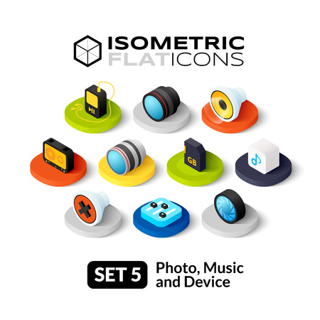 Isometric flat icons, 3D pictograms vector set 5 - Photo music and device symbol collection Illustration