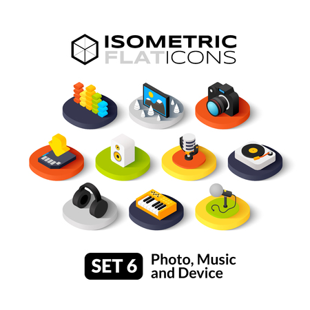 Macchina fotografica: Icone piane isometriche, 3D vettore pittogrammi set 6 - Foto musica e simbolo del dispositivo di raccolta