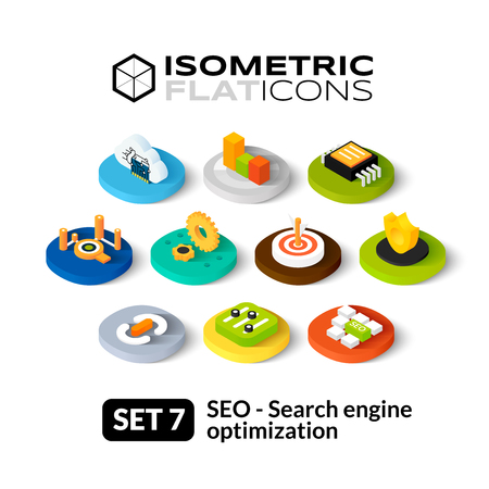 Isometric flat icons, 3D pictograms vector set 7 - Search engine optimization symbol collection Vettoriali