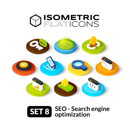 review site: Isometric flat icons, 3D pictograms vector set 8 - Search engine optimization symbol collection