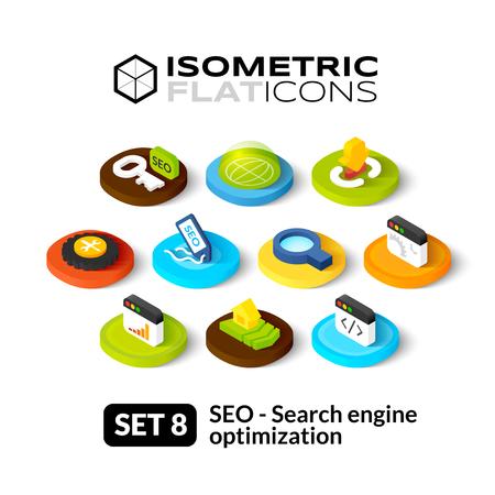 Isometrisch vlakke pictogrammen, 3D-pictogrammen vector set 8 - Zoekmachine optimalisatie symbool collectie