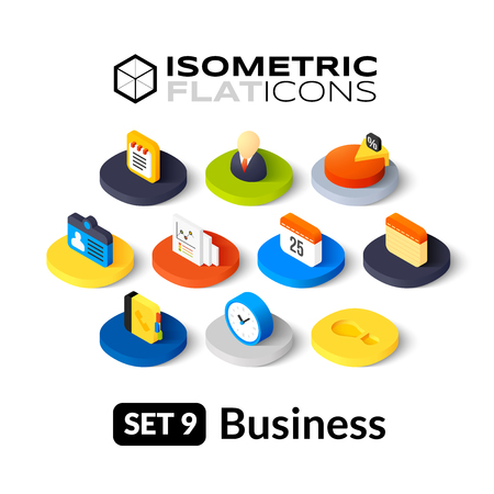 Isometric flat icons, 3D pictograms vector set 9 - Business symbol collection Illustration