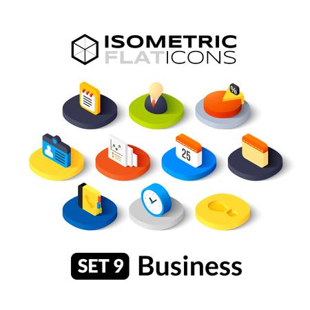 Isometrisch vlakke pictogrammen, 3D-pictogrammen vector set 9 - Zaken symbool collectie