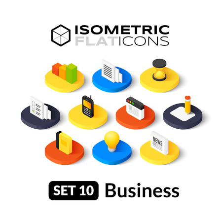 Isometric flat icons, 3D pictograms vector set 10 - Business symbol collection Çizim