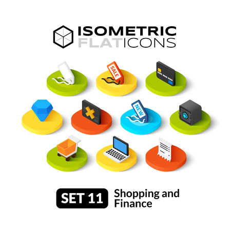 icono ordenador: Iconos planos isométricos, pictogramas 3D conjunto de vectores 11 - Compras y recogida símbolo finanzas Vectores