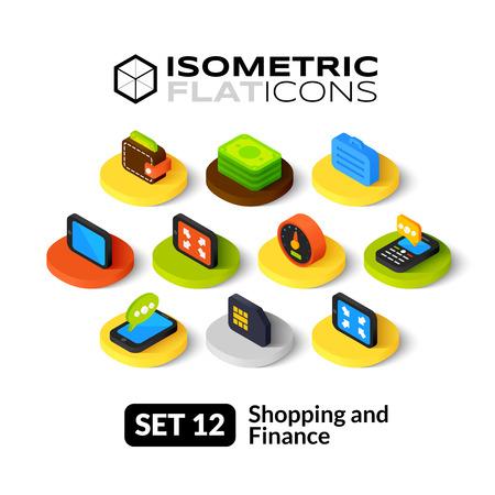 Isometrisch vlakke pictogrammen, 3D-pictogrammen vector set 12 - Winkelen en finance symbool collectie Stock Illustratie