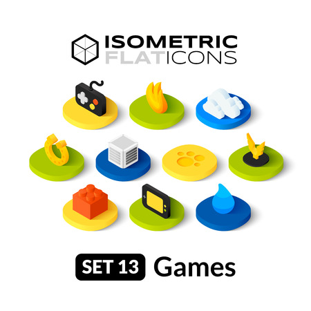 Isometric flat icons, 3D pictograms vector set 13 - Games symbol collection Stock Illustratie