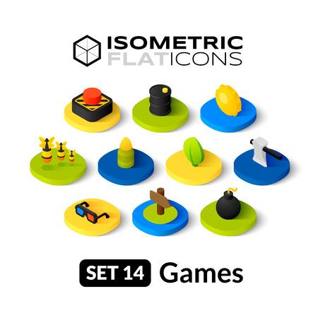 等尺性フラット アイコン、3 D 絵文字ベクトル設定 14 - ゲーム シンボル コレクション