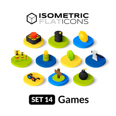 game: Isometric flat icons, 3D pictograms vector set 14 - Games symbol collection