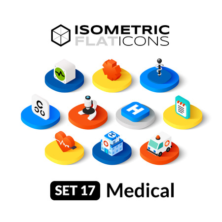 Iconos planos isométricos, pictogramas 3D conjunto de vectores 17 - colección Símbolo médico