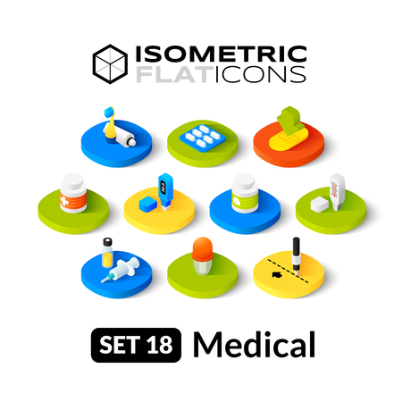 Isometric flat icons, 3D pictograms vector set 18 - Medical symbol collection Vettoriali