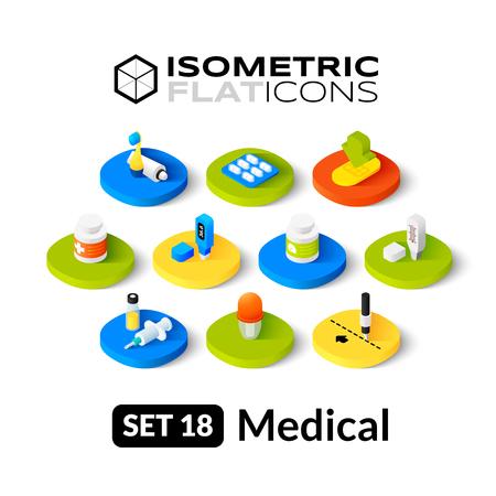Isometrisch vlakke pictogrammen, 3D-pictogrammen vector set 18 - Medische symbool collectie