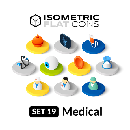 Isometric flat icons, 3D pictograms vector set 19 - Medical symbol collection
