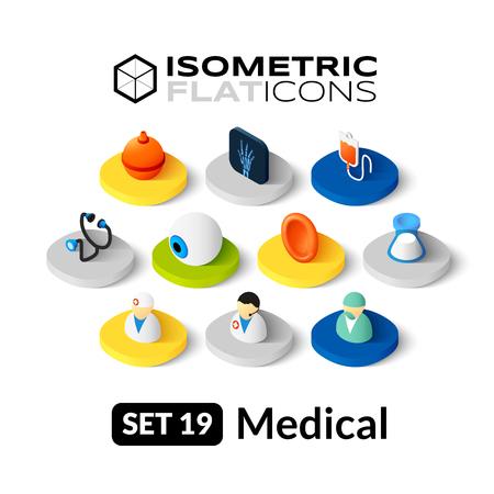 Isometrisch vlakke pictogrammen, 3D-pictogrammen vector set 19 - Medische symbool collectie