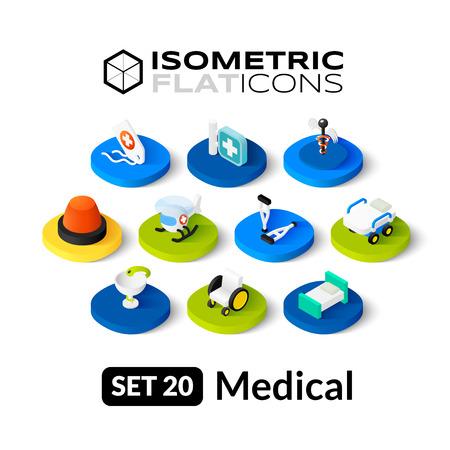 Isometrisch vlakke pictogrammen, 3D-pictogrammen vector set 20 - Medische symbool collectie
