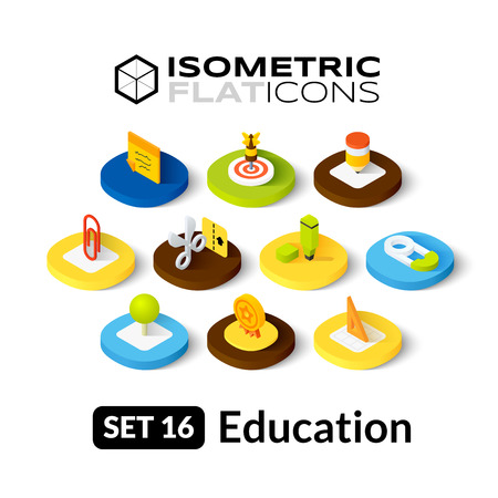 Isometric flat icons, 3D pictograms vector set 16 - Education symbol collection